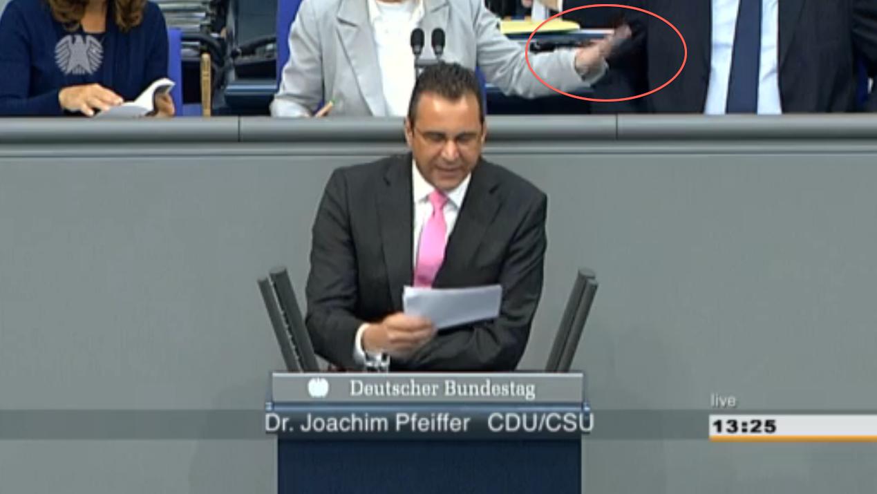 Bundestagsvizepräsidentin Petra Pau versucht im Hintergrund durch Handbewegungen ihre Fraktion zu beruhigen –vergebens.