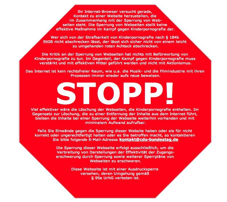 Stoppschild auf www.cdu-bundestag.de